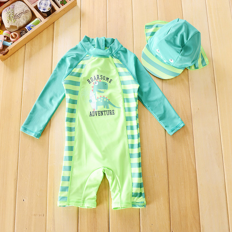 Chilren swimsuit baby boy handsome dinosaur beach for Baby rash guard shirt