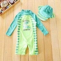 Chilren Swimsuit Baby Boy Handsome Dinosaur Beach Sunscreen Clothing Kids Rash Guard Baby Boy Swimwear And Cap In One Set