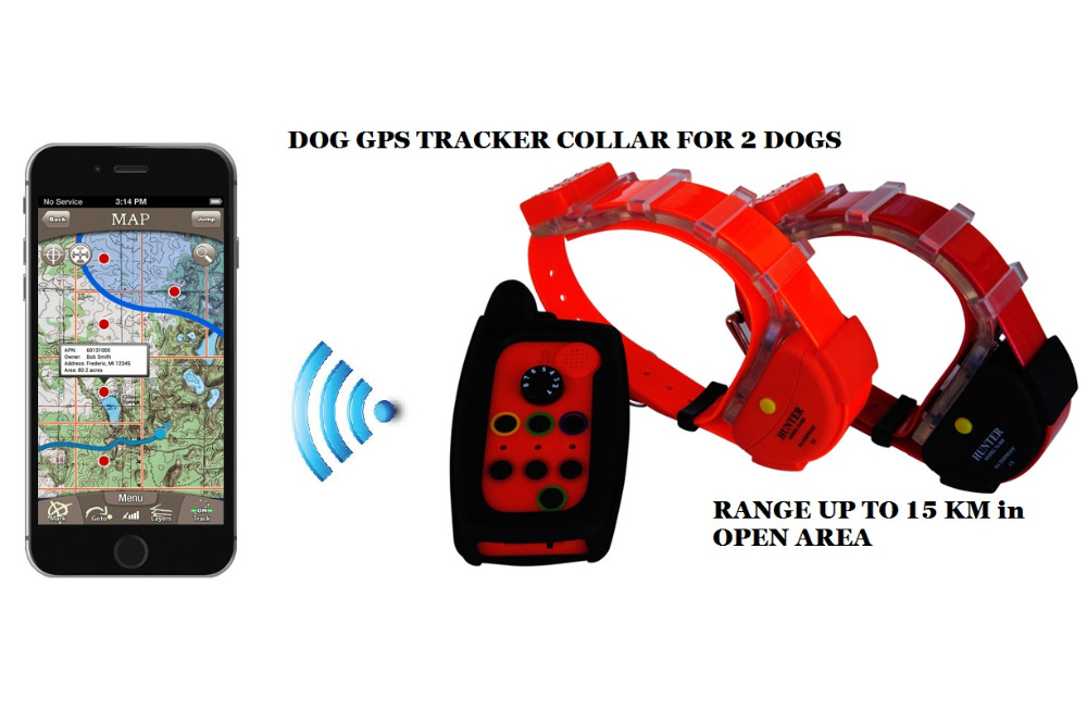 WATERPROOF DOG GPS TRACKER COLLAR 2 šunims su BUILD ANTENE