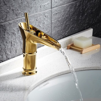 Free shipping Luxury Gold Creative Design Bathroom Basin Sink Faucet Deck Mounted single hole