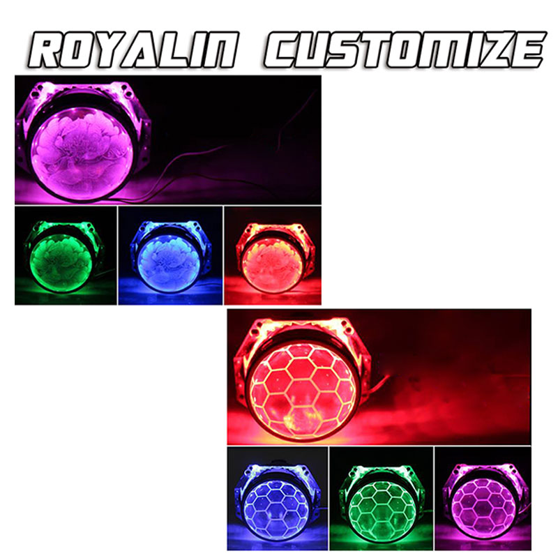 ROYALIN Hella 3R G5 Honeycomb Bixenon Projector Headlights Lens Car Lights Retrofit Double Lenses Etching Service D1S D2S D2H in Car Light Accessories from Automobiles Motorcycles