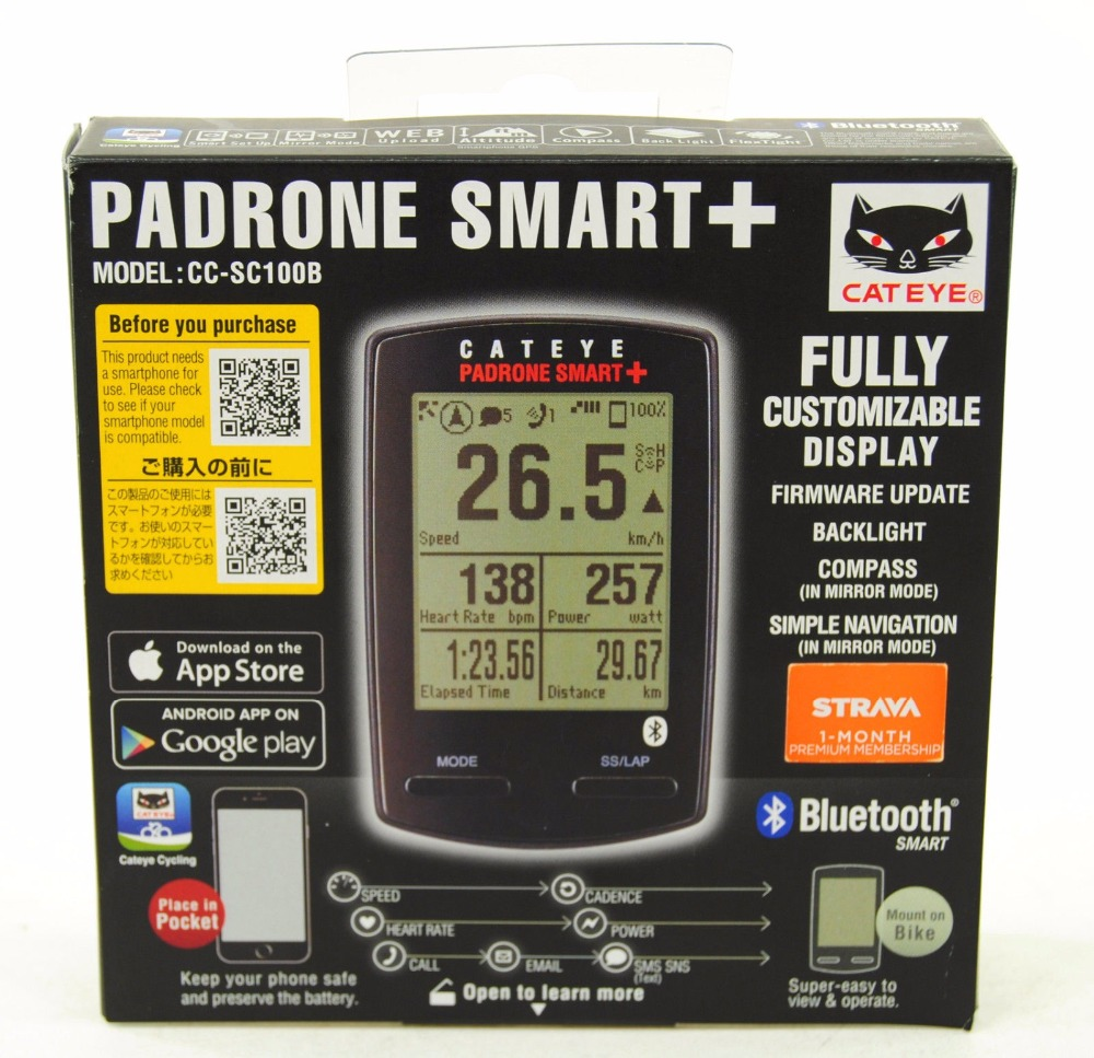 Cateye Padrone Smart+ Plus Speed Rate CC SC100B Cycle Computer-in Bicycle Computer from Sports ...