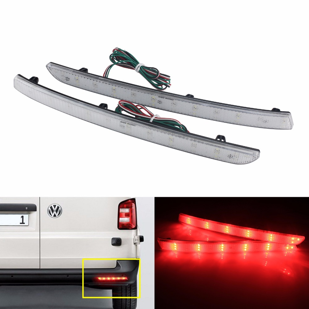 ANGRONG Clear Rear Bumper Reflector LED Tail Stop Light(CA332) For <font><b>VW</b></font> <font><b>T5</b></font> Transporter/Caravelle/Multivan (facelifted) 2012-2016 image