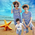 2017 new summer fish ocean beach Children Summer T-shirt a family of three with father and mother of women.