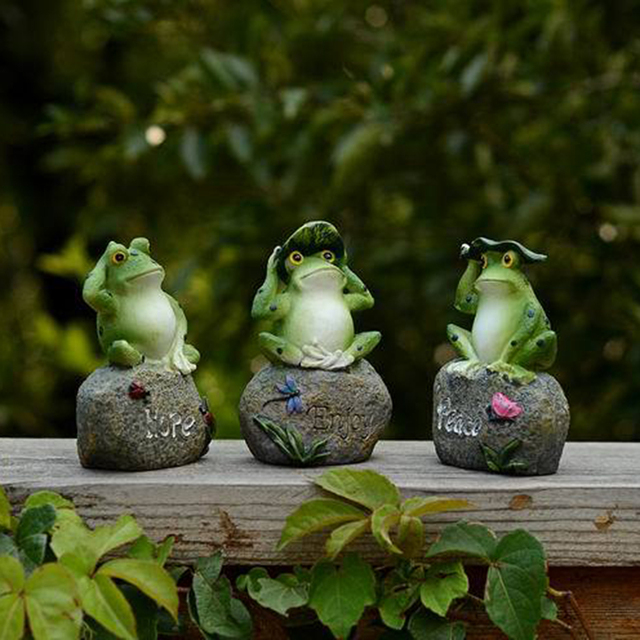 Charmant Peace Hope Enjoy Frogs Figurines Miniatures Fairy Garden Statues Art  Figurine Outdoor Patio Garden Decoration Ornament