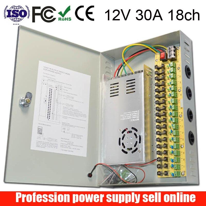 18 Channel DC12V 30A CCTV Camera Power Box IR Illuminator Control For DVR CCTV Camera Switching Power Supply Boxs 18CH Ports 30A