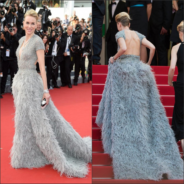 Gatsby Celebrity Dresses Real Kylie Jenner 2015 68th Cannes Film Festival Luxury Feathers Naomi Watts Formal Gowns V Neck