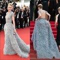 Gatsby Kylie Jenner 2015 68o Festival de Cine de Cannes Vestidos de La Celebridad Real de Lujo Plumas de Naomi Watts Formal de Los Vestidos de Cuello En V