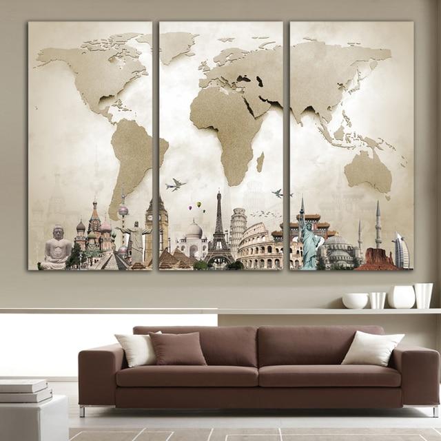 Wereldkaart Muur Canvas Posters en Prints Modulaire Foto Voor ...