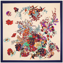 100 ซม.* 100 ซม.100% ผ้าไหมลายทแยงยูโรแบรนด์ฤดูใบไม้ผลิ Rose ดอกไม้พิมพ์ผู้หญิงผ้าพันคอสแควร์มุสลิม Headscarf ผ้าคลุมไหล่ 3113