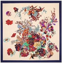 100cm * 100cm 100% 능 직물 실크 유로 브랜드 봄 장미 꽃 인쇄 여성 스퀘어 스카프 Femal 이슬람 Headscarf 목도리 3113