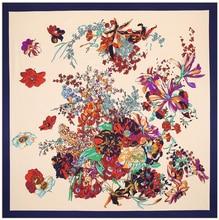 Pañuelo cuadrado con estampado de flores para mujer, pañuelo de seda de sarga, 100cm x 100cm, para la cabeza, 100%