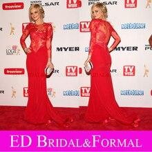 Samara Weaving Roten Kleid Langarm Spitze Promi Abendkleid Red Carpet Abendkleid vestido vermelho