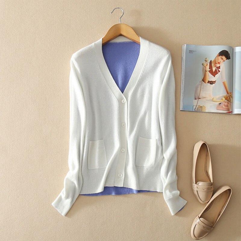 2018 Femme Maxi light Cardigans Printemps Blue Dames Tops Blanc Pur Patchwork Cardigan Purple cou V Tricots Cachemire Automne Manches Longues 100 p7pwnfqxr4