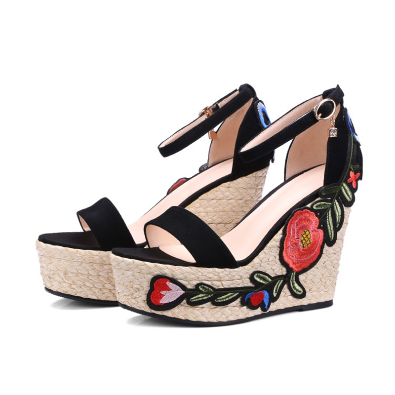 77393247e51 Aliexpress.com   Buy THIS ONE NEW women summer Embroidered platform shoes  espadrille shoes flower applique supper high heel wedge elegant sandals  from ...