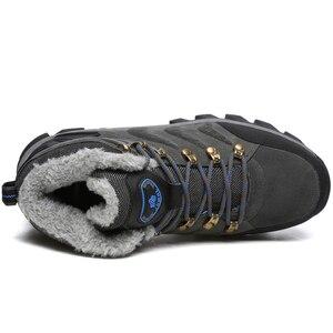 Image 5 - סופר חם גברים חורף מגפי זמש עור שלג מגפי פרווה בפלאש חורף שלג נעלי גברים תחרה עד חיצונית נעליים בתוספת גודל