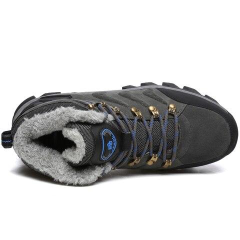 Super Warm Men Winter Boots Suede Leather Snow Boots Fur Plush Winter Snow Shoes For Men Lace Up Outdoor Boots Shoes Plus Size Multan
