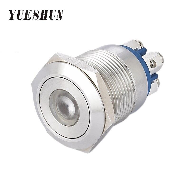 YUESHUN 19mm Licht Schalter Flache Runde Vordere Form LED Momentary ...