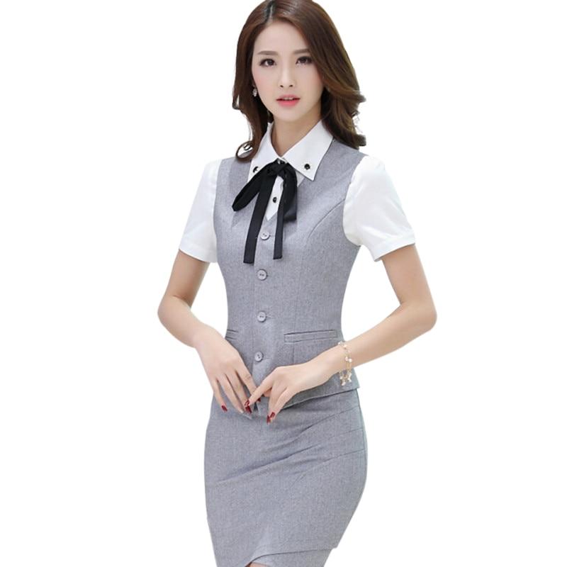 7bf80de559 2017 Nova moda das mulheres do desgaste do trabalho roupas saia colete  ternos uniformes escritório XXXL feminino colete com saia define cinza preto