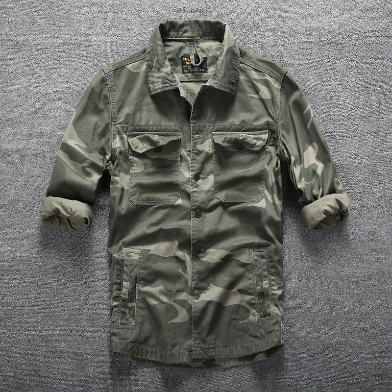 Men Spring Autumn Sports Breathable Cotton Shirts Outdoor Climbing Training Military Fans Camo Long Sleeve Army