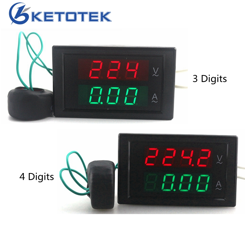 Voltímetro de CA Digital amperímetro ampermetro AC 80 V 300 0-100A Led voltios amperios medidor de voltaje medidor de corriente amperios medidor de Panel