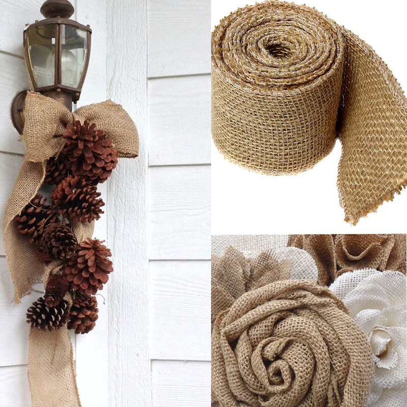 5yards natural jute hessian burlap ribbon rustic weddings for Diy jute