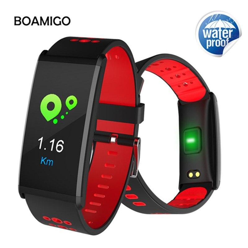 Bluetooth Smart Watch in BOAMIGO Marca Smart Wristband di Colore Dello Schermo di Chiamata Messaggio di Promemoria Pedometro di Caloria di Allarme Per IOS Android