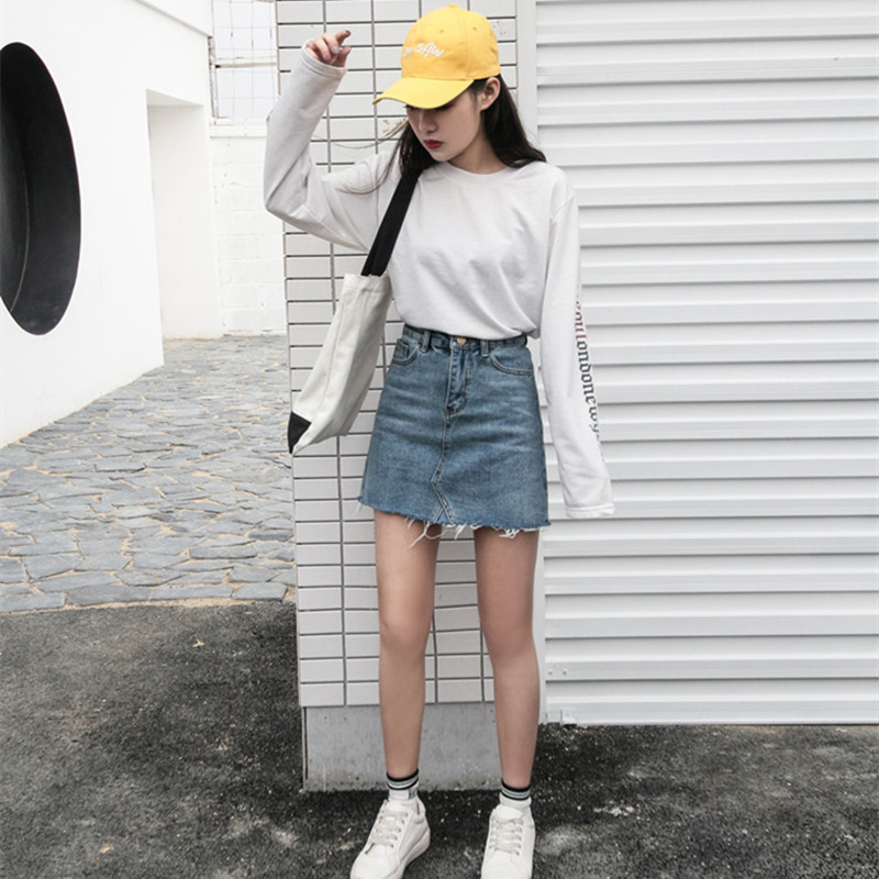 Summer Fashion High Waist Skirts Womens Pockets Button Denim Skirt Female New All-matched Casual Jeans Skirt 1