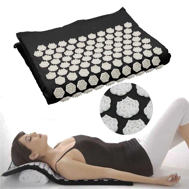 67*42 CM Fitness Yoga Spiky Mat Lotus acupuntura masaje alfombra almohada conjunto cama Pilates Yoga masajeador cojín para atrás. piernas, cuello, ciática, terapia de punto de disparo, alivio del dolor y el estrés