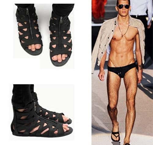 2017 Nouvelle Conception Grande Taille Gladiateur Avant Fermeture Éclair Mode Style Romain Sandale Bottes Hommes Haute Plate-Forme Chaussures Hommes Sandales D'été