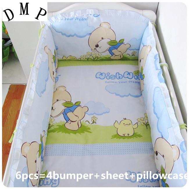 Promotion! 6PCS Bear baby bedding set cotton crib bed set baby bed linen jogo de cama bedclothes (bumper+sheet+pillow cover)