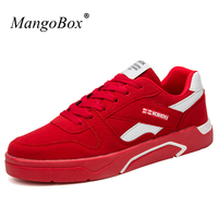 MangoBox Lace Up Adult Brand Sneakers White Red Mans Platform Sneakers Spring Youth Skate Footwear Low