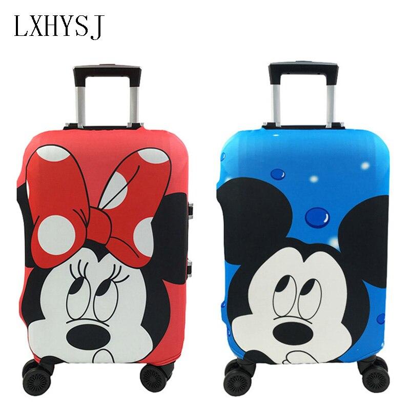 Mickey y Minnie parejas patrón conjunto de maleta de viaje cubierta 19-32 pulgadas carro elástico cubierta de polvo accesorios de viaje