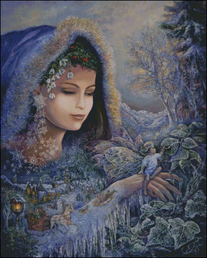 Couture, un monde de glace et de neige princesse fille compté broderie, bricolage DMC point de croix kits, Art motif croix couture décor