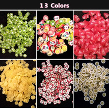 100pcs/pack New Coloful 3D Apple Orange Kiwi  Fruit Soft Ceramic Nail Art DIY Decorations Tools Slices Polymer Clay