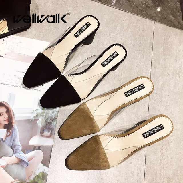 f725823fbbe US $25.87 35% OFF|Aliexpress.com : Buy Wellwalk Heel Slippers Women Mules  Ladies Clear PVC Slides Women Indoor Slippers Female Round Heel Sandals ...