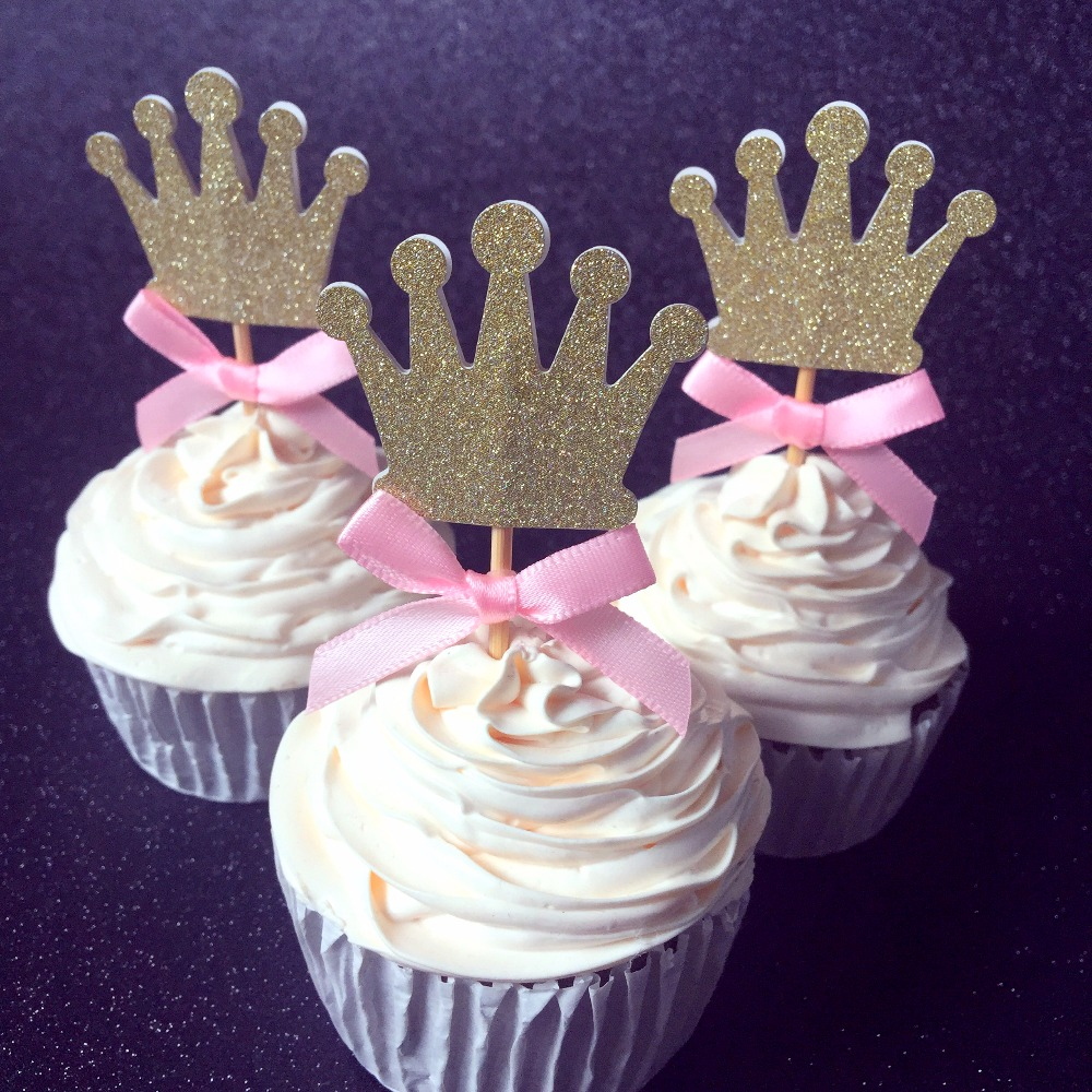 Girl 1st birthday decorations cupcake toppers picks,Kids party decoration gold <font><b>and</b></font> pink,24pcs <font><b>crown</b></font> baby shower <font><b>cup</b></font> cake topper