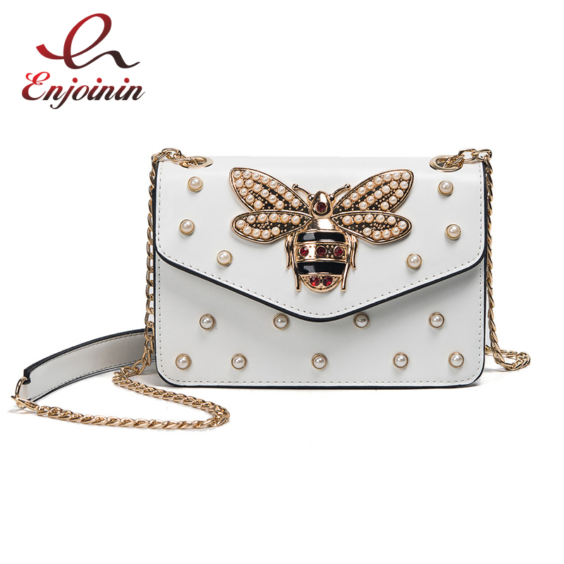 Fashion design bee metal pearl pu leather chain ladies shoulder bag handbag flap purse female crossbody messenger bag 5 colors  fun fashion personality disposable leather pu leather chain shoulder bag handbag female crossbody mini messenger bag purse