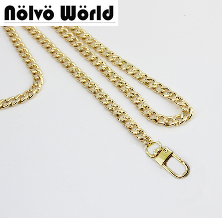 1 Piece Gold Color 8mm Width Golden Finished Chain With 2 Snap Hooks For Repair Hand Bags Long Strap
