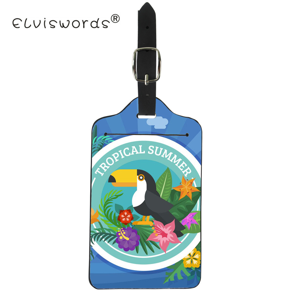 ELVISWORD Toucan Bird Luggage Tag ID Address Holder Tropical Palm Leaves Baggage Boarding Tag PU Leather Suitcase Portable Label