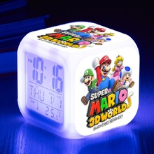 New style Super Mario Bros Alarm Clock with 7 Colors Change LED Digital Clock Despertador Best Christmas Gift Date & Tempeture