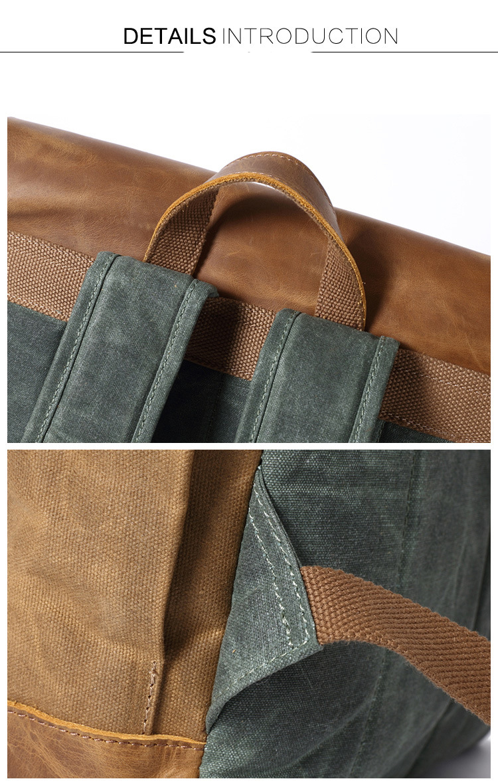 Retro Contrast Oil Wax Waterproof Canvas Bag Travel Backpack Computer Schoolbag Large Capacity Women Backpack 11
