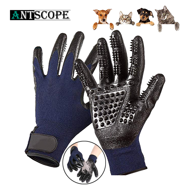 цена на Antscope Pet Hair Glove Rubber Comb Bath Brush Gentle Efficient Cleaning Bath Massage Pet Grooming Dog Cat Pet Accessories 30