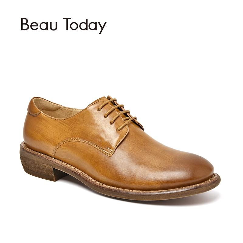 BeauToday Genuine Leather Derby Shoes Newborn Calfskin Round Toe Fashion Shoes Handmade 21415
