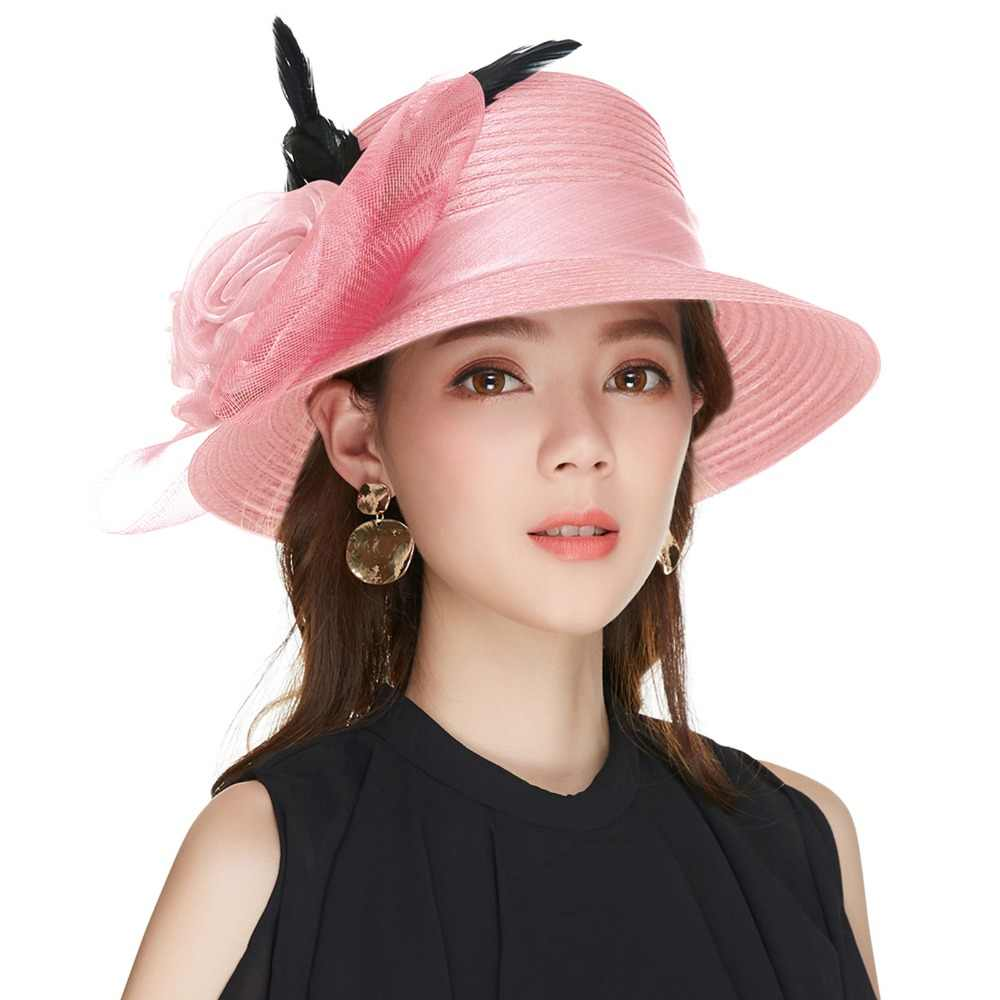 955bc370 ... Kajeer 2019 Purple Women Bowler Hat Female Elegant Noble Net Feather  Felt Fashion Wide Brim Fedora ...
