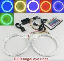 2 шт. RGB универсальный автомобилей cob led angel eyes фар авто RGB halo кольцо комплект с крышкой и дистанционного 60/70/80/90/100/100/110/120 мм
