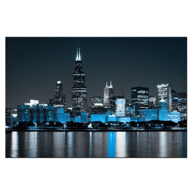 Large Canvas Painting Chicago Skyline At Night Picture Wall Art Modern  Architecture Buildings Cityscape Coastline Poster