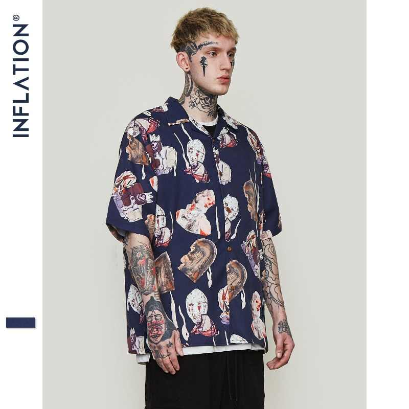 35520f149 INFLATION Mens Hawaiian Shirt Male Casual Abstract Printed Beach Shirts  Short Sleeve Summer 2019 Loose Men