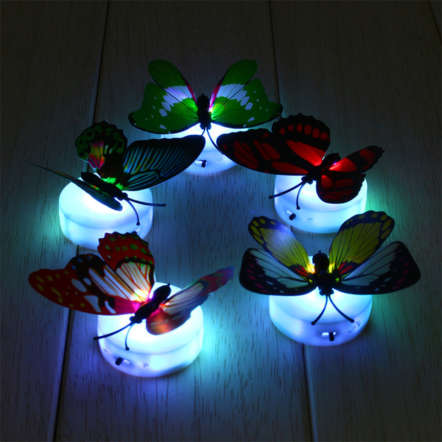 Colorful Led Color Changing Erfly Night Light Bed Lamp Home Illumination Decorative Wall Nightlights Random