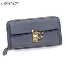 2017 New Womens Wallets and Purses Famous Brands Leather Women Long Lock High Quality Wallet Mobile Phone Bags Clutch Purses